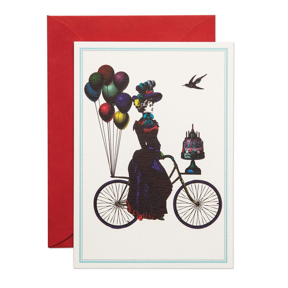 Kortti nainen ja polkupyörä