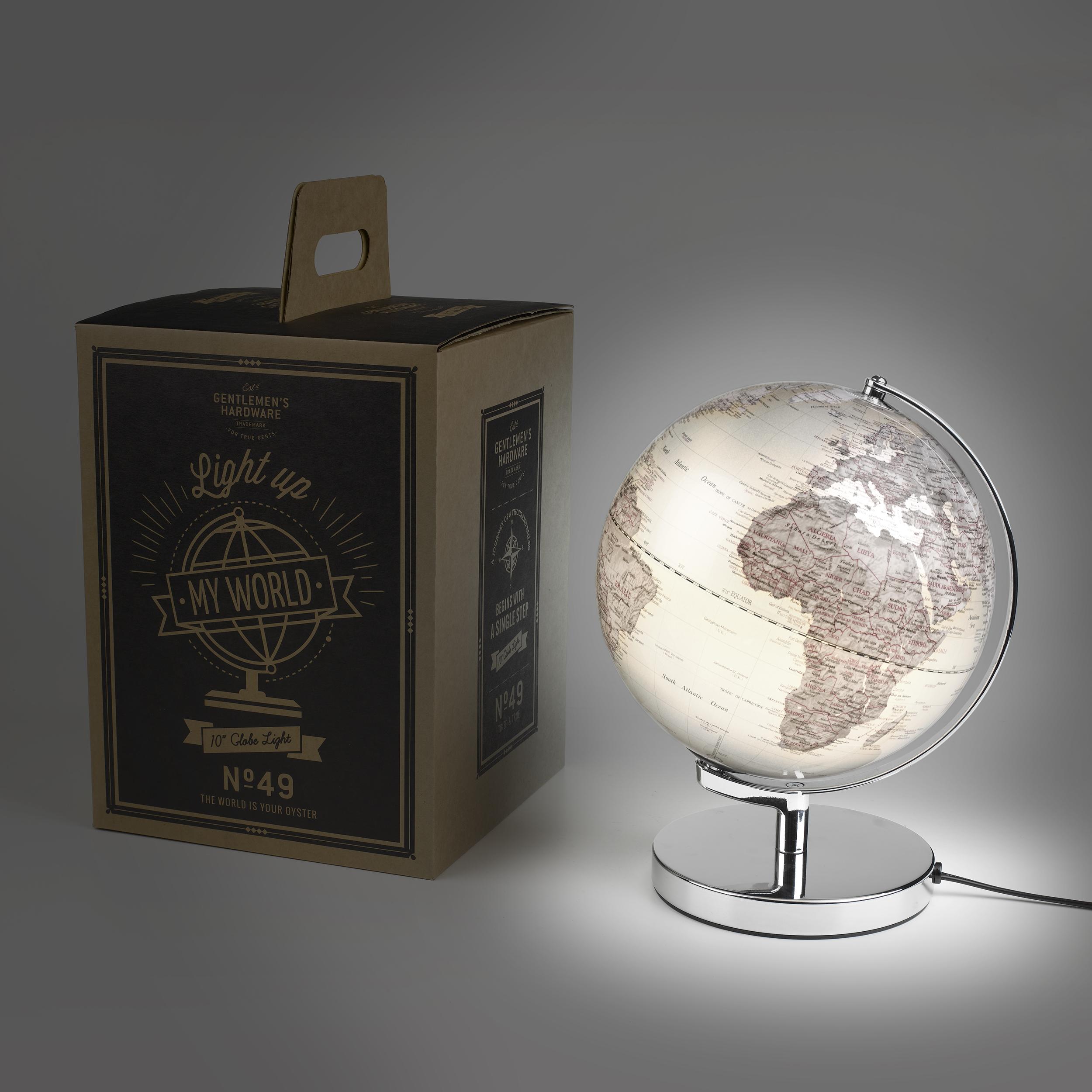 Hopeinen 25 cm maapallo valo